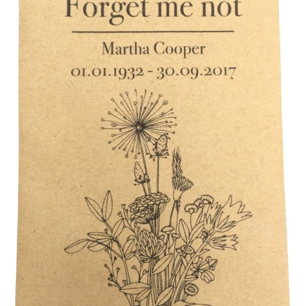 forget me not seed gift funeral